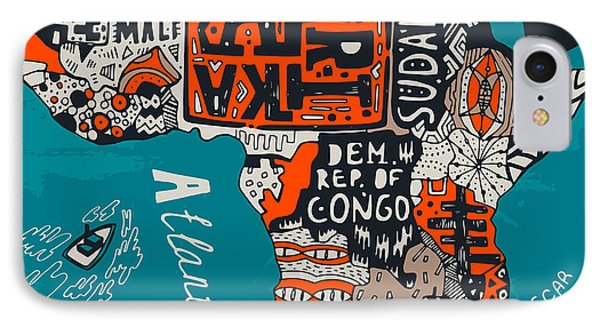 Egyptian iPhone 8 Case - Illustrated Map Of Africa by Daria i