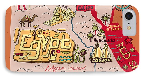 Egyptian iPhone 8 Case - Illustrated Map Of Egypt by Daria i