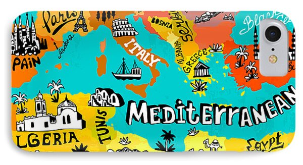 Egyptian iPhone 8 Case - Illustrated Map Of Mediterranean by Daria i