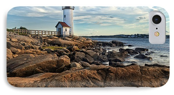 England iPhone 8 Case - Lighthouse At Sunset Off Annisquam by Christian Delbert