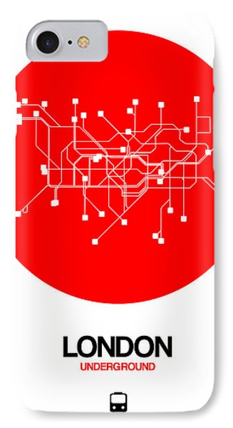 England iPhone 8 Case - London Red Subway Map by Naxart Studio