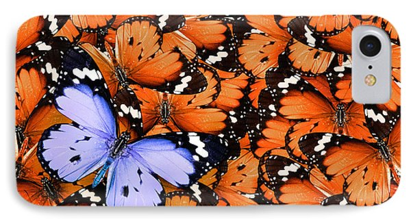 Collage iPhone 8 Case - Lonely Lilac Butterfly Among Set Of by Protasov An