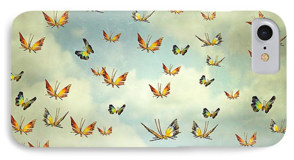 Collage iPhone 8 Case - Many Colorful Butterflies Flying Into by Valentina Photos