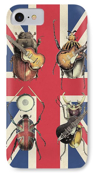 Drum iPhone 8 Case - Meet The Beetles - Union Jack by Eric Fan