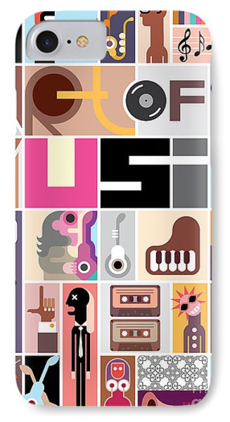 Collage iPhone 8 Case - Musical Collage Of Various Images - by Danjazzia
