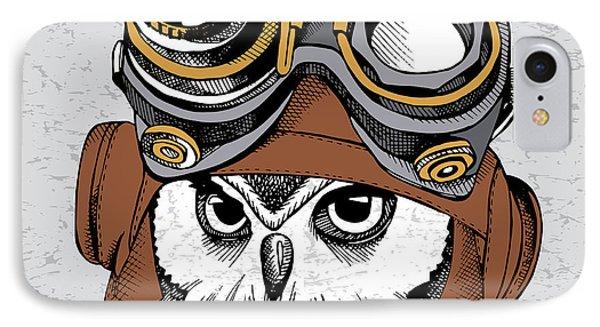 Beautiful Nature iPhone 8 Case - Owl Portrait In A Steampunk Helmet by Afishka