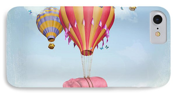 Collage iPhone 8 Case - Pink Elephant In The Sky With Balloons by Ganna Demchenko