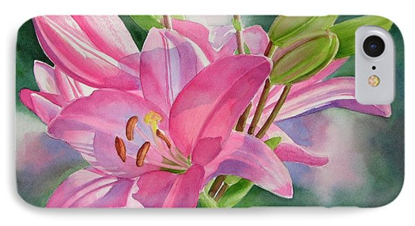 Lily iPhone 8 Case - Pink Lily With Buds by Sharon Freeman
