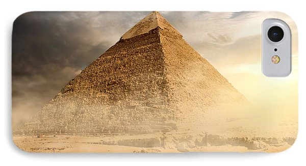 Egyptian iPhone 8 Case - Pyramid In Sand Dust Under Gray Clouds by Givaga