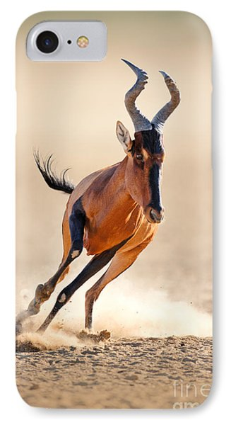 Africa iPhone 8 Case - Red Hartebeest Running - Alcelaphus by Johan Swanepoel