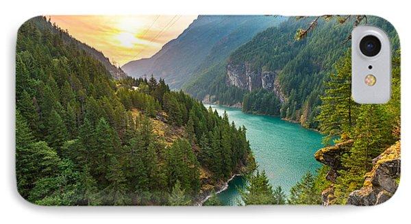 Beautiful Nature iPhone 8 Case - Scene Over Diablo Lake When Sunrise In by Checubus