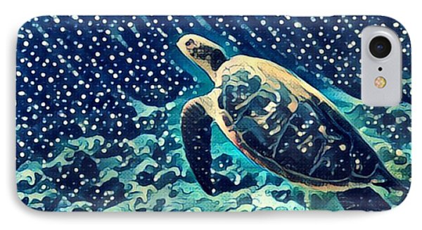 Egyptian iPhone 8 Case - Sea Turtle Swimming Underwater. Digital by Davdeka
