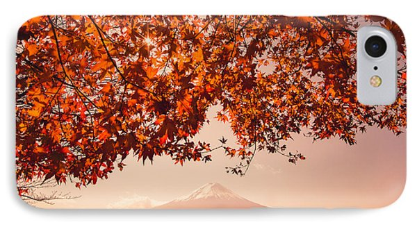 Beauty In Nature iPhone 8 Case - Sunset At Mountain Fuji And Red Maple by Ommaphat Chotirat