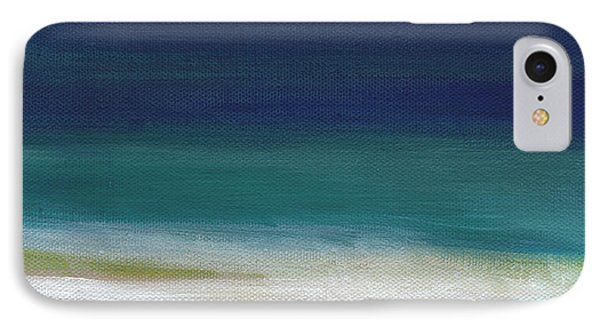 Wood iPhone 8 Case - Surf And Sky- Abstract Beach Painting by Linda Woods