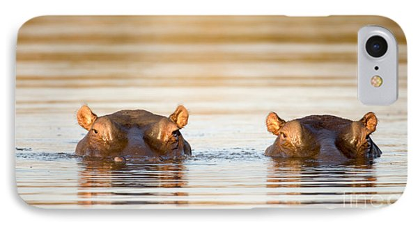 Africa iPhone 8 Case - Two Common Hippopotamus In The Water At by Tony Campbell