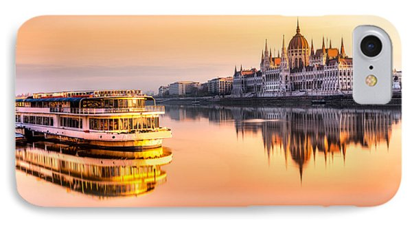 England iPhone 8 Case - View Of Budapest Parliament At Sunrise by Luciano Mortula - Lgm