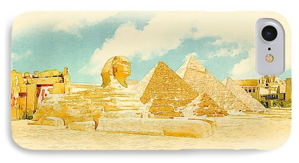 Africa iPhone 8 Case - Water Color Panoramic Egypt Illustration by Trentemoller