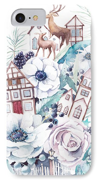 Collage iPhone 8 Case - Watercolor Winter Fairytale by Eisfrei
