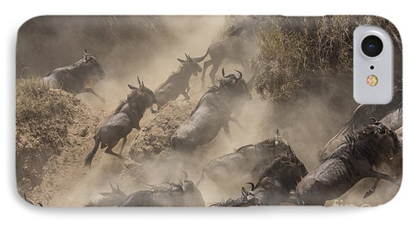 Africa iPhone 8 Case - Wildebeests Mara Crossing by Alexey Osokin
