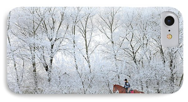Beauty In Nature iPhone 8 Case - Woman And Her Horse Cantering In Fresh by Horsemen
