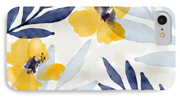 Mustard iPhone 8 Case - Yellow And Navy 1- Floral Art By Linda Woods by Linda Woods