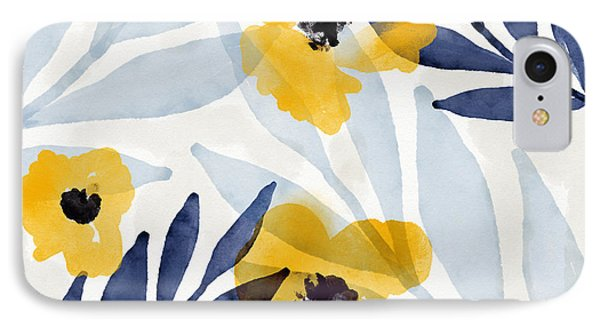 Mustard iPhone 8 Case - Yellow And Navy 2- Floral Art By Linda Woods by Linda Woods