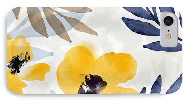 Mustard iPhone 8 Case - Yellow And Navy 3- Floral Art By Linda Woods by Linda Woods