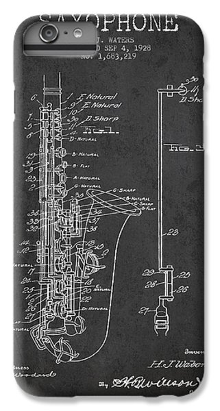 Saxophone iPhone 8 Plus Case - Saxophone Patent Drawing From 1928 by Aged Pixel