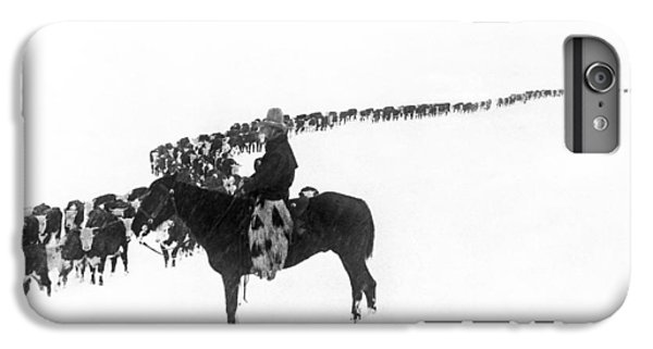 Cow iPhone 8 Plus Case - Wintertime Cattle Drive by Underwood Archives  Charles Belden
