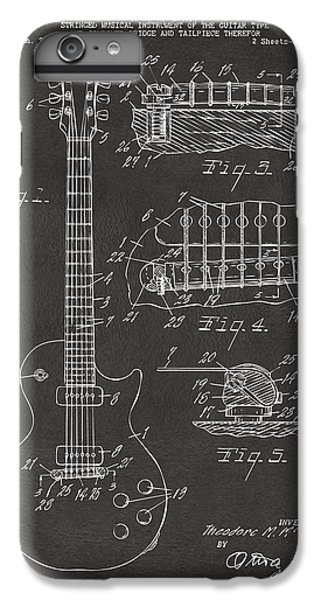 Guitar iPhone 8 Plus Case - 1955 Mccarty Gibson Les Paul Guitar Patent Artwork - Gray by Nikki Marie Smith