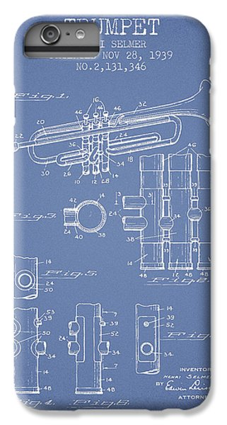 Trumpet iPhone 8 Plus Case - Trumpet Patent From 1939 - Light Blue by Aged Pixel