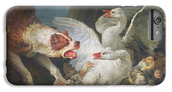 Gosling iPhone 8 Plus Case - A Dog Attacking Geese, 1769 Oil On Canvas by Jean-Baptiste Huet