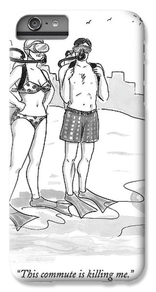 Scuba Diving iPhone 8 Plus Case - A Man And A Woman In Swimsuits And Diving Gear by Carolita Johnson