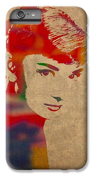 Portraits iPhone 8 Plus Case - Audrey Hepburn Watercolor Portrait On Worn Distressed Canvas by Design Turnpike