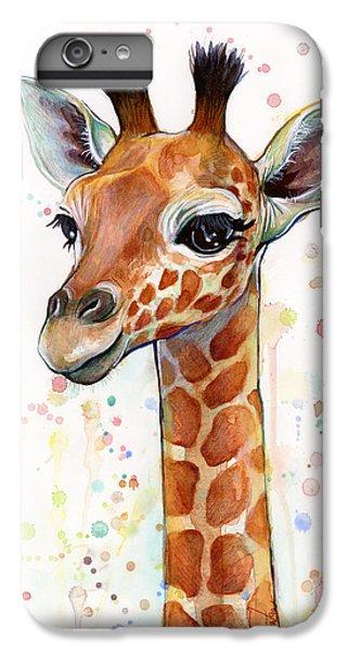 For iPhone 8 Plus Case - Baby Giraffe Watercolor  by Olga Shvartsur