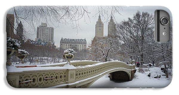 City Scenes iPhone 8 Plus Case - Bow Bridge Central Park In Winter  by Vivienne Gucwa