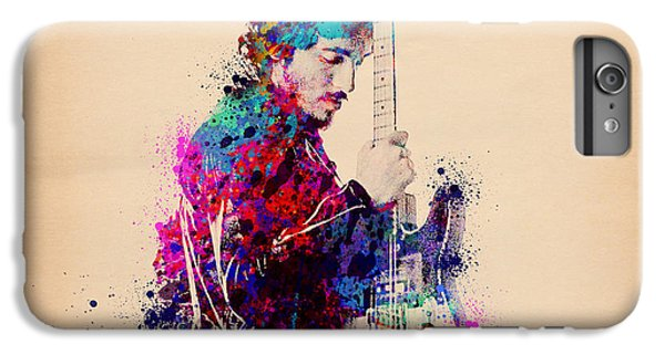 Rock And Roll iPhone 8 Plus Case - Bruce Springsteen Splats And Guitar by Bekim Art