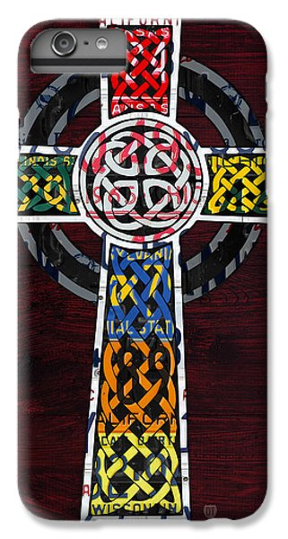 Celtic Cross iPhone 8 Plus Case - Celtic Cross License Plate Art Recycled Mosaic On Wood Board by Design Turnpike
