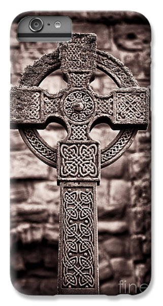 Celtic Cross iPhone 8 Plus Case - Celtic Cross Lindisfarne Priory by Tim Gainey