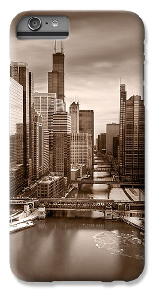 Chicago River iPhone 8 Plus Case - Chicago City View Afternoon B And W by Steve Gadomski