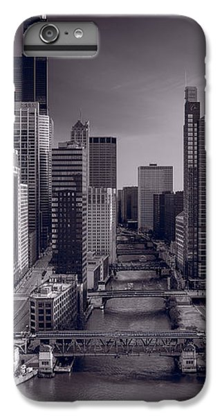 Chicago River iPhone 8 Plus Case - Chicago River Bridges South Bw by Steve Gadomski