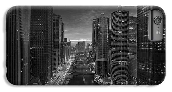 Chicago River iPhone 8 Plus Case - Chicago River Sunset B W by Steve Gadomski