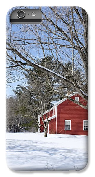 New England Barn iPhone 8 Plus Case - Classic Vermont Red House In Winter by Edward Fielding