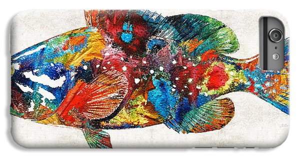 Scuba Diving iPhone 8 Plus Case - Colorful Grouper Art Fish By Sharon Cummings by Sharon Cummings