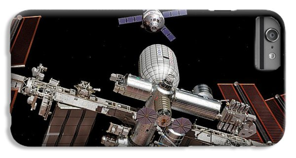 International Space Station iPhone 8 Plus Case - Crew Exploration Vehicle Approaching Iss by Walter Myers/science Photo Library