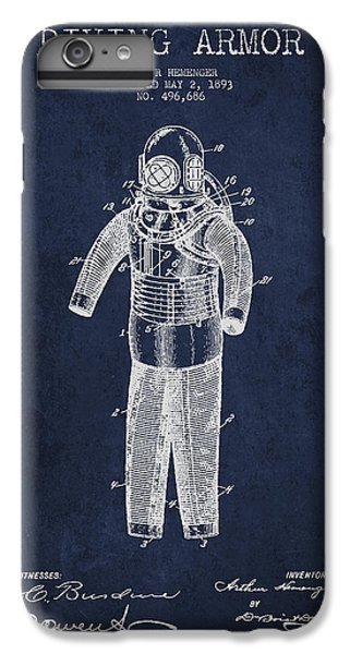 Scuba Diving iPhone 8 Plus Case - Diving Armor Patent Drawing From 1893 by Aged Pixel