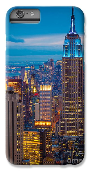City Scenes iPhone 8 Plus Case - Empire State Blue Night by Inge Johnsson