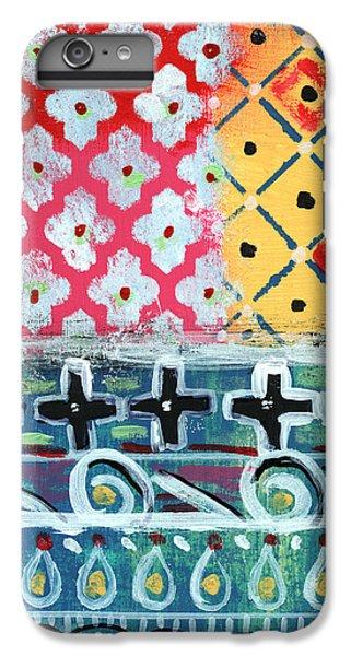 Cross iPhone 8 Plus Case - Fiesta 6- Colorful Pattern Painting by Linda Woods