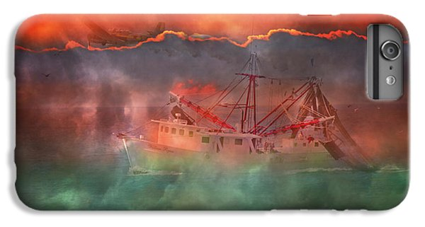 Shrimp Boats iPhone 8 Plus Case - Fire And Ice Misty Morning by Betsy Knapp