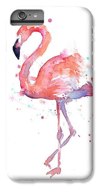 Animals iPhone 8 Plus Case - Flamingo Watercolor by Olga Shvartsur